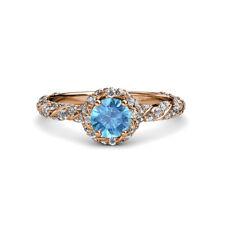 Topaz & Diamond Womens Halo Engagement Ring 1.52 ctw 14K Rose Gold JP:114011