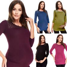 Purpless Maternity 3/4 Ärmel Schwangerschaft Top Shirt Bluse mit Spitzenbesatz 5300