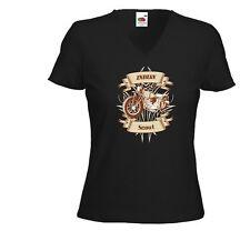Biker Damen T-Shirt Indian Scout Oldschool Custom Tattoo V8