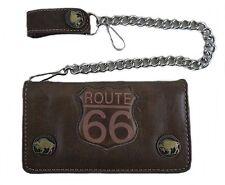 Brieftasche Wallet Geldbörse Geldbeutel feinstes Rindleder mit Kette Route 66