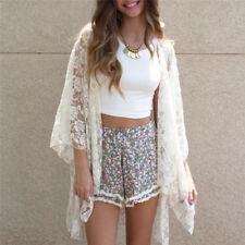 Women Fashion Summer Lace Crochet Kimono Tops Open Front Coat Jacket Cardigan^_