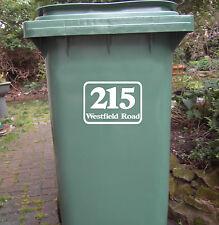 Wheelie Rubbish Bin- House Number Vinyl Sticker, HIGH QUALITY