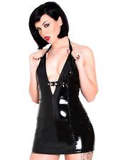 Honour para Mujer Sexy Vestido Halter en negro PVC Corte Bajo Silueta pegajosa