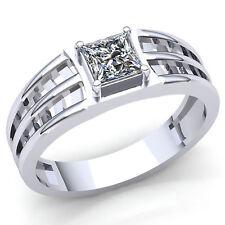 0.5ct Princess Cut Diamond Men's Classic Solitaire Wedding Band Ring 14K Gold