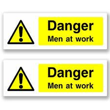 2 x 20cm Danger Men At Work - Vinyl Sticker Sign Window H&S Construction #5061