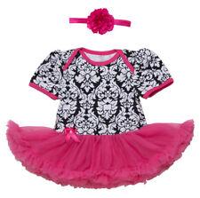 Baby Girl Flower Print Short Sleeve Romper Tutu Dress with Matching Headband