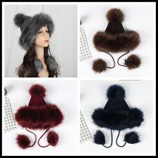 Women Faux Fur Knitted Cap Pom Pom Hat Winter Russian Ushanka Cossack Beanie