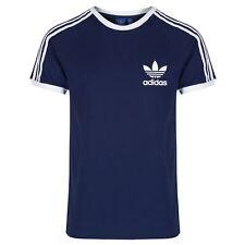 Adidas Mens Trefoil Navy California Tees Crew Neck Retro T Shirts UK S M L XL
