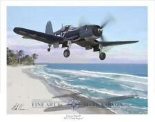 """Corsair Takeoff"" Mark Karvon VF-17 Jolly Rogers Print - Lt. Cdr. Roger Hedrick"