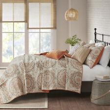 New! ~ Cozy Chic Orange Taupe Beige Boho Tropical Southwest Bohemian Quilt Set
