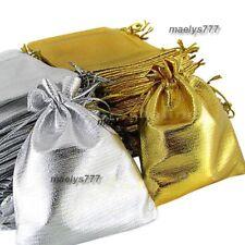 Sac pochette chocolat dragées bijoux cadeaux mariage fêtes argenté/doré 10pcs