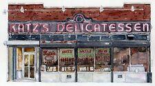 Katz's Deli New York City Watercolor Matted Art Prints Jewish Delicatessen