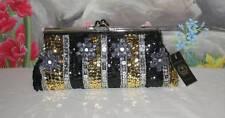 VECCELI Italy RONELLA LUCCI Black Silver Gold Beaded Sequin Evening Bag NWT