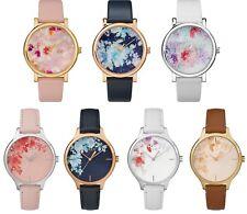 Timex Crystal Bloom Swarovski Floral Dial Leather Strap Ladies Watch