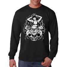 Pin Up Girl Dice Skulls Motorcycle Biker Black Widow Web Long Sleeve T-Shirt