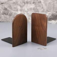 Walnut Wood Desktop Organizer Home Bookends Book Ends Stand Holder Shelf