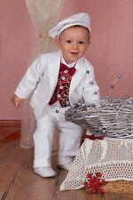 ABITO BATTESIMO vestito cerimonia bianco velluto rosso bordaux tg 62-86 cod 1752