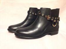 Diane Von Furstenberg Rikki Ankle Boot 7.5 M Black Waxy Calf/Elastic New w/Box