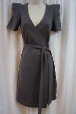 Diane Von Furstenberg DVF Petite Dress Sz P Smoke Gray Wool Silk Cocktail Dress