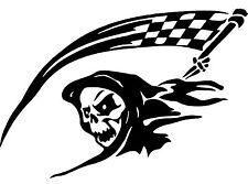 "Skull Skeleton Race Flag Decal Car Window Wall Laptop Vinyl Sticker 6"" x 4"""
