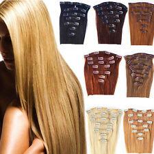 7 PZ Remy Hair SET ALLUNGAMENTO EXTENSION FASCIA CAPELLI VERI 100% 15 CLIP 40CM