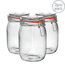 Glass Storage Jars Airtight Clip Top Lid Food Preserve Preserving Jar 1 Litre x3