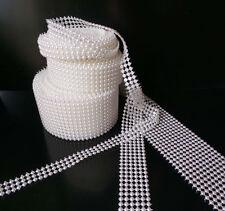 Pearl mesh della barra multifunzione torta fascia Trim SPOSA CUCITO-BIANCA O AVORIO