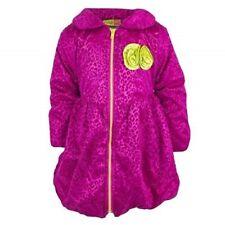 Girls Penelope Pink Flocked Fleece Lined Puffer Zip Up Coat Winter Jacket 12-4yr