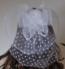Fascinator Hochzeit Haarschmuck Braut Haarklammer EDEL Schleier Blume Braut