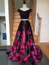 NEW JOVANI 47667 Black 2PC Long Floral Print Crop Top Gown Dress PAGEANT 0 2