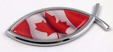 Canada Jesus Fish Canadian Flag Car bike Chrome Emblem Decal Sticker Christian