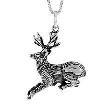 "Sterling Silver Deer Pendant / Charm, 18"" Italian Box Chain"