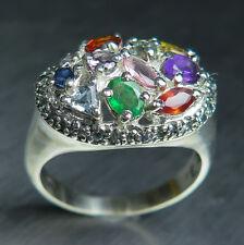 Natural Sapphire, Emerald, Aquamarine 925 silver /9ct 14k 18k Gold Platinum ring