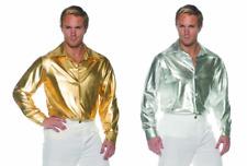 70S 80S MENS DISCO COSTUME SHIRT METALLIC DANCE SATURDAY NIGHT FEVER GOLD SILVER