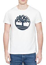 Timberland Retro Brand Tree Logo T-shirt Mens Crew Neck Print Cotton Tee White