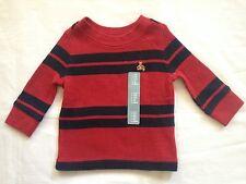 NWT BABY GAP BOY'S BRANNAN BEAR LASALLE RED TWO-STRIPE THERMAL TEE 100% COTTON