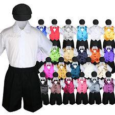 Baby Boys Toddler Formal Vest Shorts Suit Satin Vest Bow Tie 5pc Set /w Hat S-4T