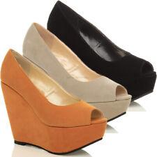 Para mujeres Damas Plataforma Cuña De Alto Punta Abierta Zapatos Talla