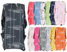 New Ladies Italian Fish Print Tunic Top Womens Lagenlook Stylish Dress Top