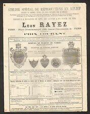 """PARIS (XI°) ATELIER de REPRODUCTIONS en RELIEF """"Léon RAYEZ"""" Verso timbré en 1883"""