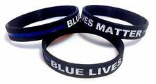 TheAwristocrat 3 Pack of BLUE LIVES MATTER Thin Blue Line Rubber Wristband Silic