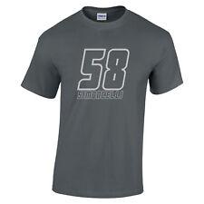 Marco Simoncelli MotoGP 58 de Rider Carbón Camiseta Plata 58 logotipo Motos