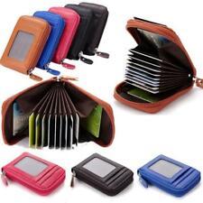 Pocket Leather Slim Wallet ID Credit Card Holder Case Zipper Purse Organizer Y