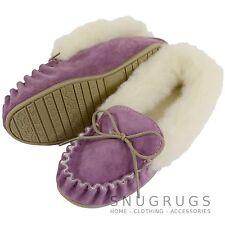LADIES SHEEPSKIN WOOL MOCCASIN SLIPPER HARD SOLE WOOL CUFF PURPLE - MADE IN UK