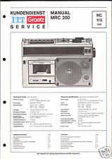 ITT/Graetz Orig. Service Manual für Radiorecorder MRC 200