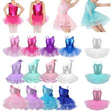 Kid Girl Ballerina Costume Sequins Ballet Dance Leotard Dress Dancing Tutu Skirt