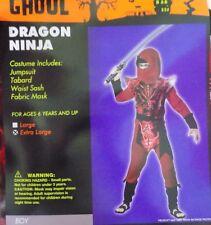 NEW Boys Dragon Red Ninja Costume Mask Sz Large OR XLarge - FREE SHIPPING
