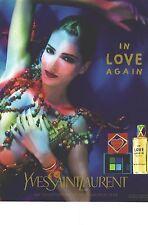 """PUBLICITE 1997  YVES SAINT LAURENT parfums cosmétiques """" IN LOVE AGAIN"""""""