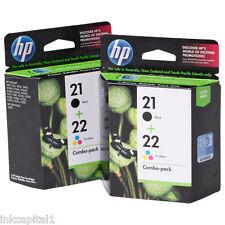 Hp 2 X N 21 & 2 X N ° 22 Negro Y Color Original Oem Cartuchos C9351ae C9352ae