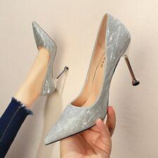 Women High Heel Pumps Slip On Wedding Gold Evening Shoes Pointed Toe Clubwear